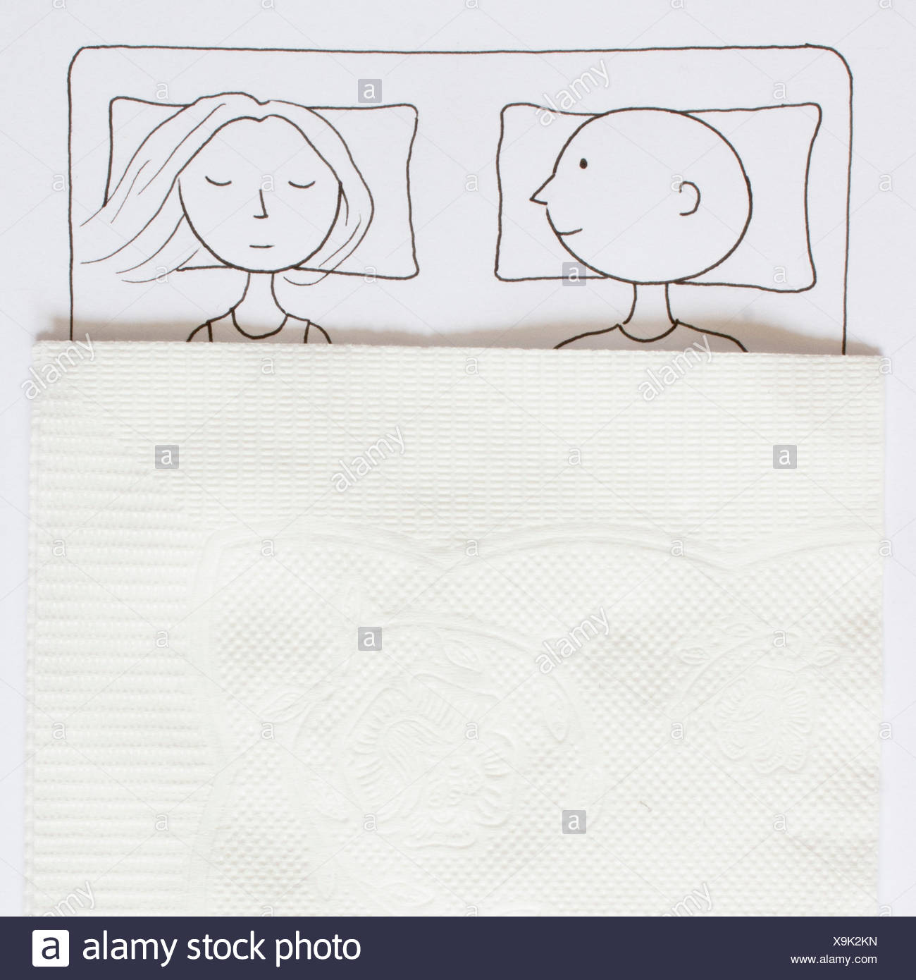 Conceptual drawing of a Couple in a double bed - Stock Image