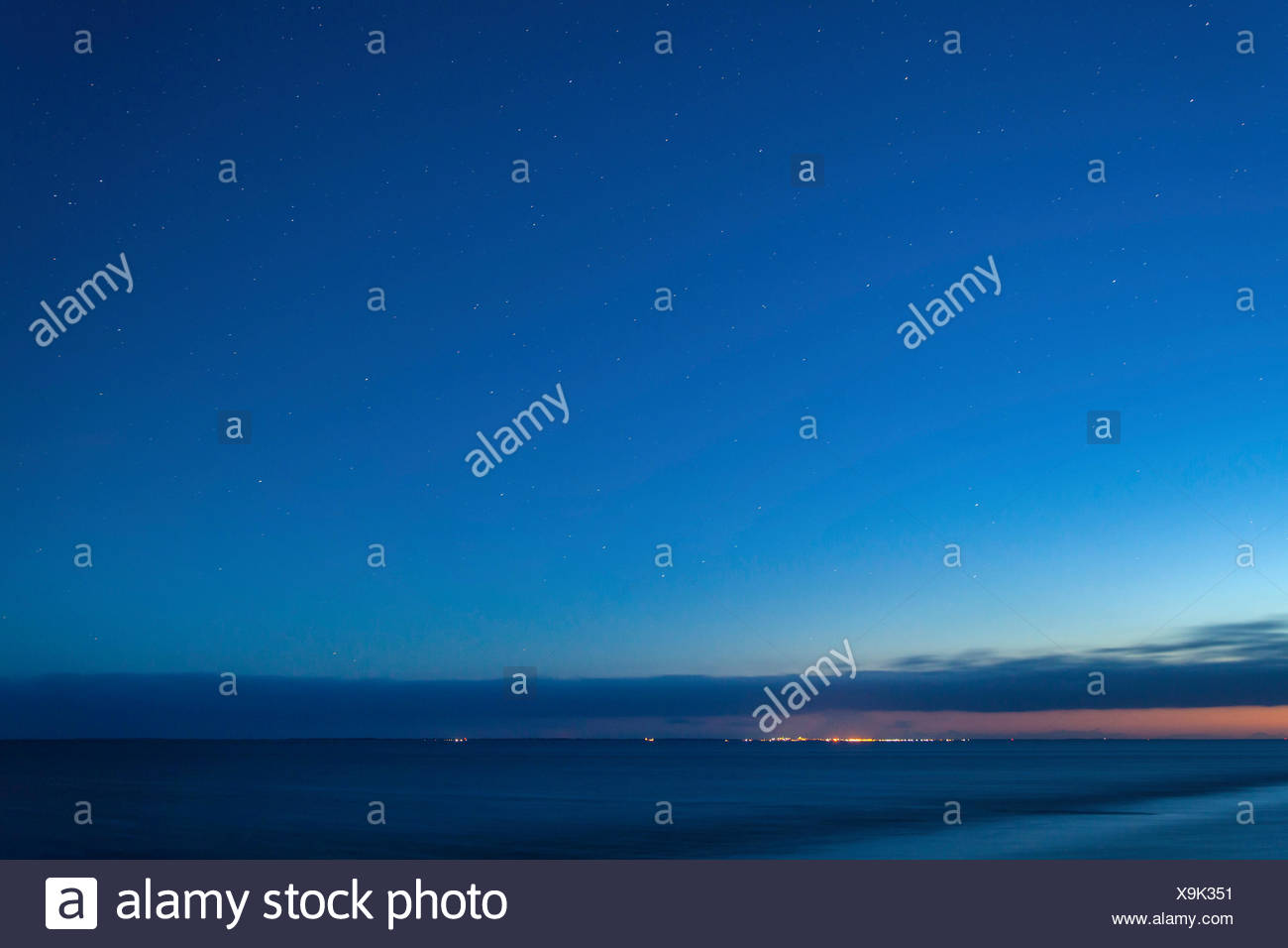 stars over island Juist, Germany, Lower Saxony, Norddeich Stock Photo