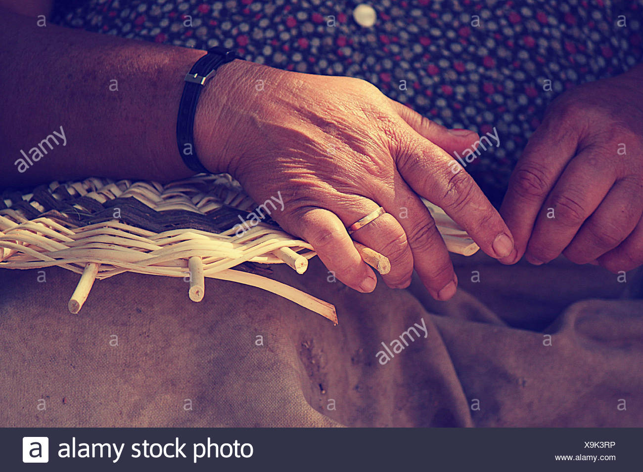 Close up of female hands weaving basket - Stock Image
