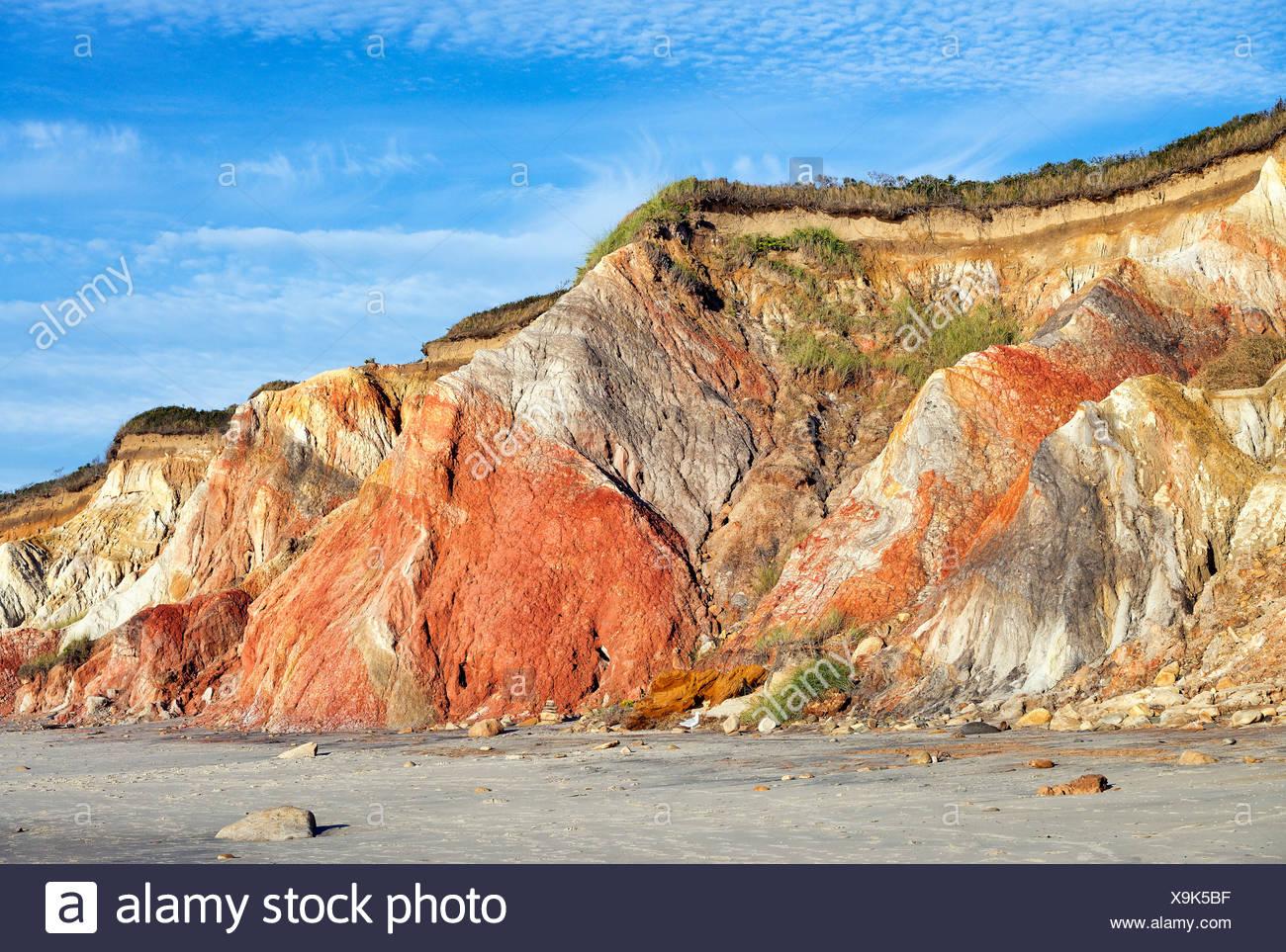 Clay cliffs, Gay Head, Aquinnah, Martha's Vineyard, Massachusetts, USA. - Stock Image