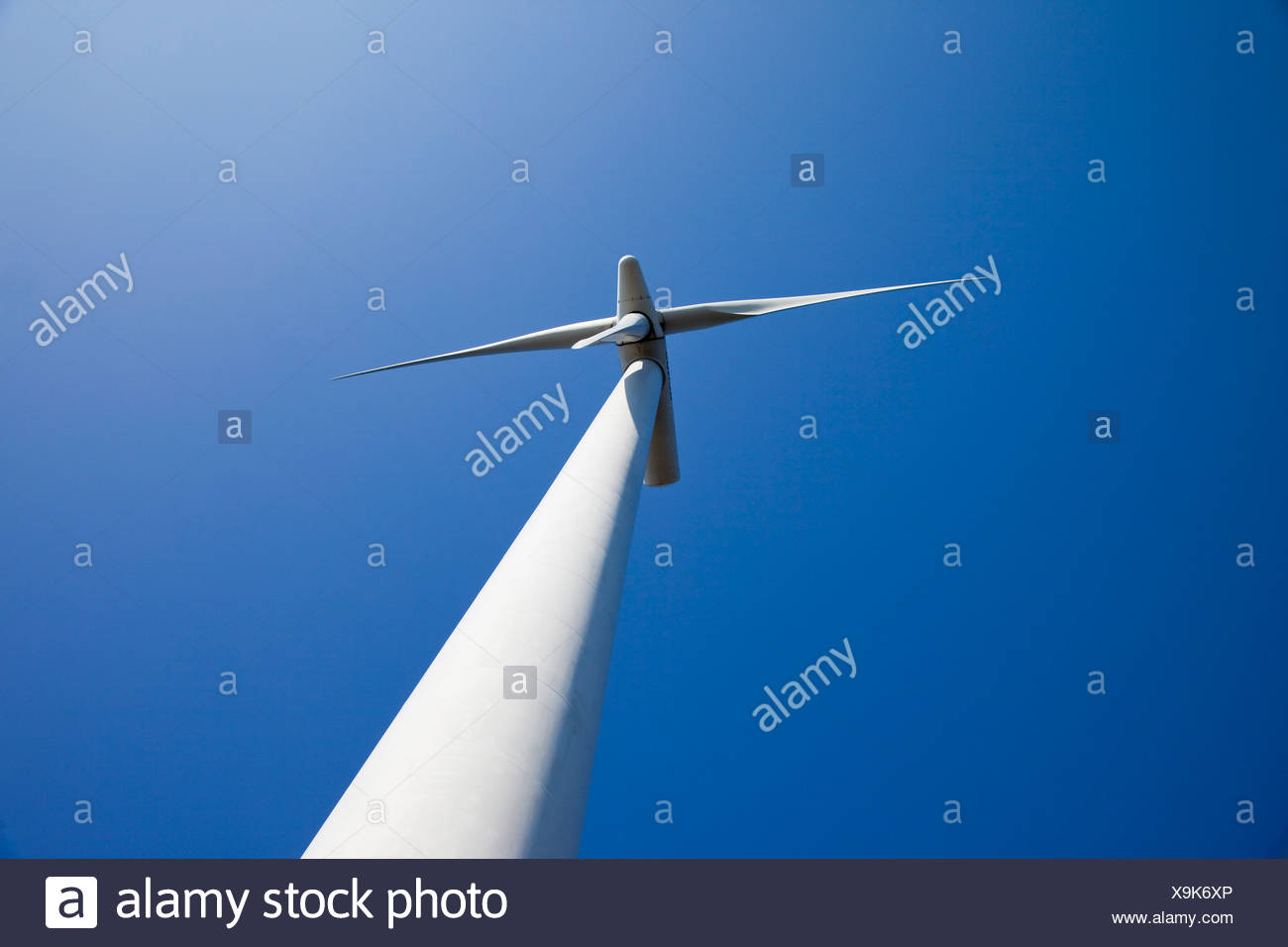 Wind power station from below - Stock Image