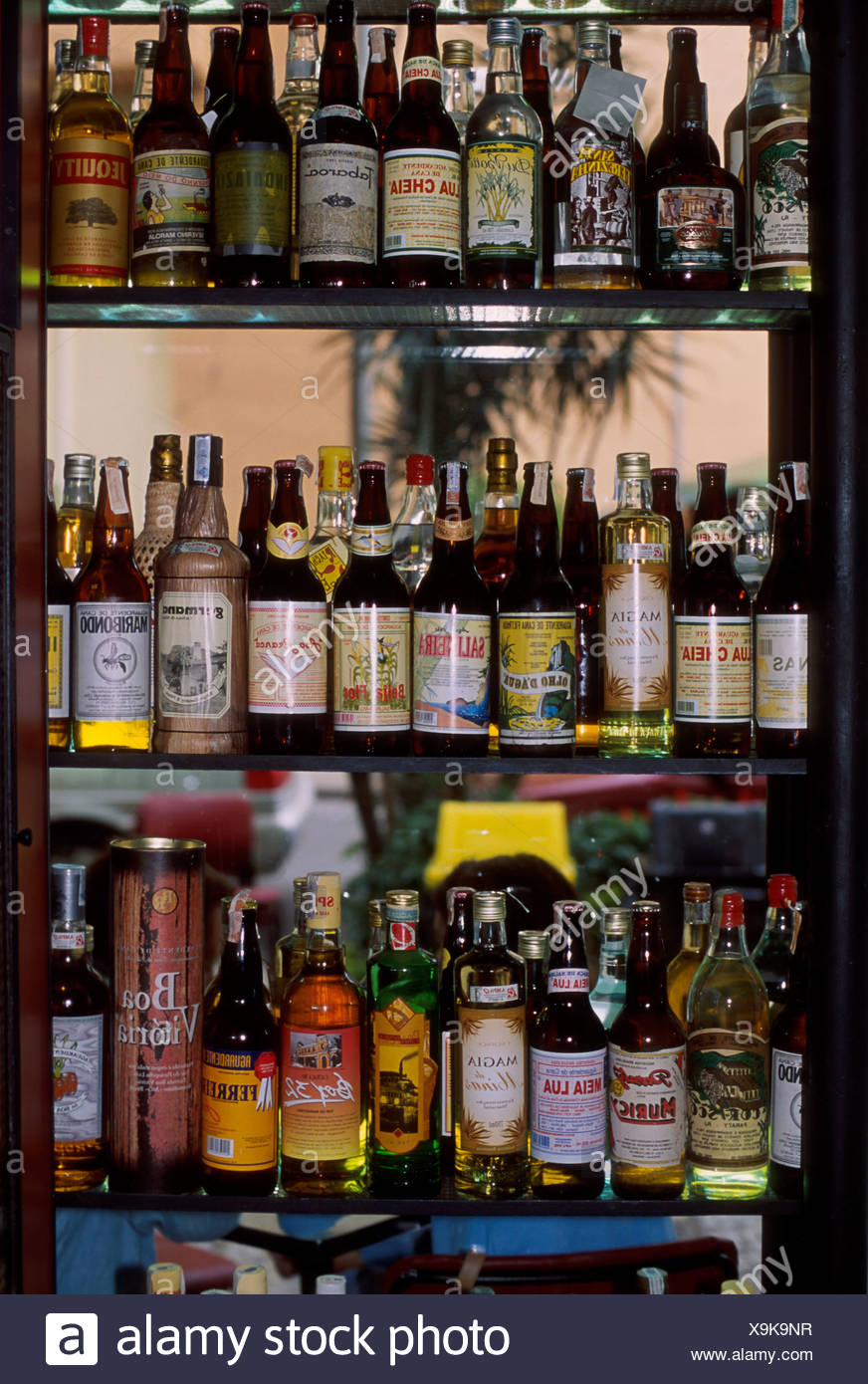 Academia da cachaça bar Rio de Janeiro Brazil Bottles of cachaça Brazilian popular white rum - Stock Image