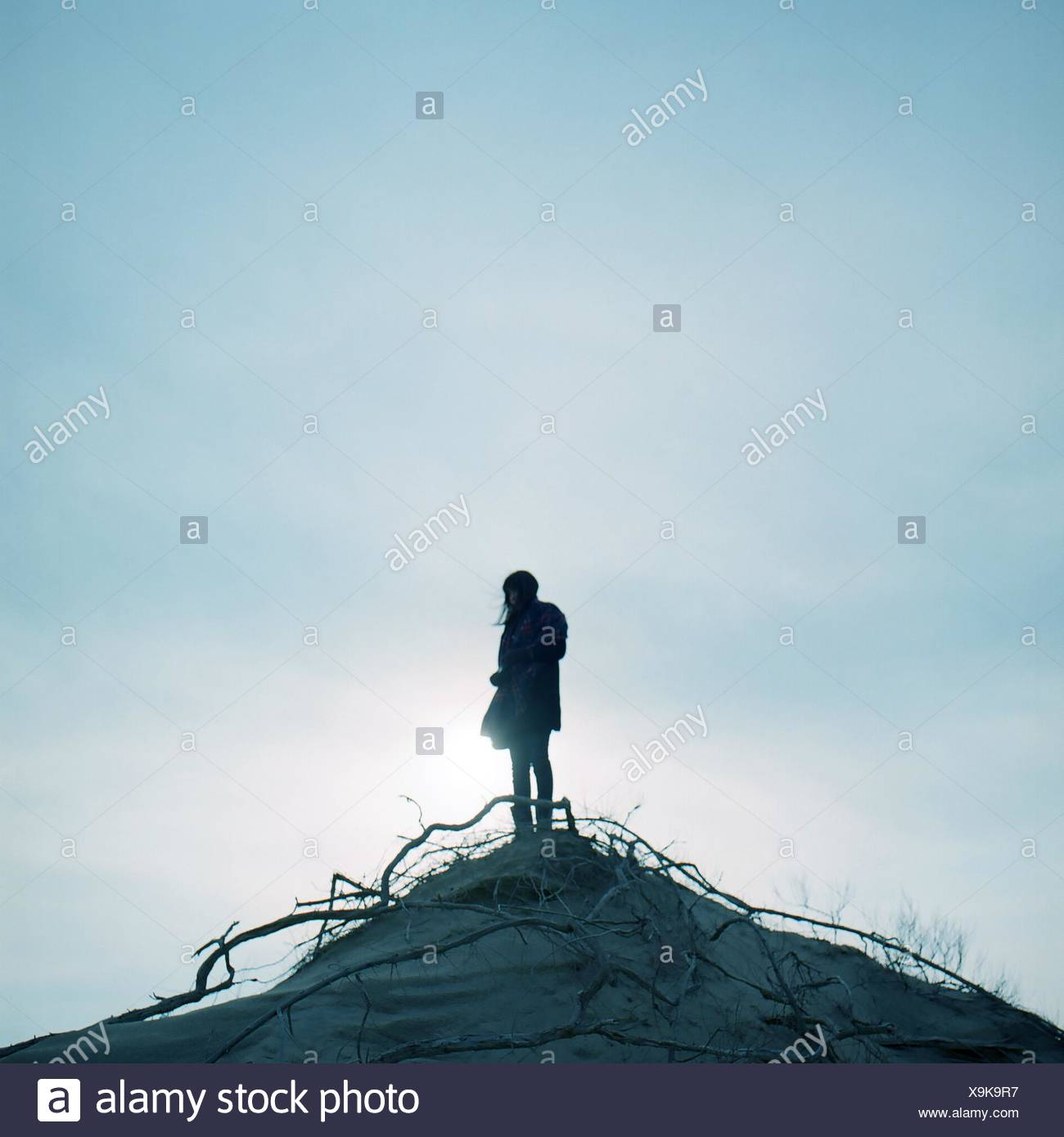 Low Angle View Of Woman On Cliff Against Clear Sky - Stock Image