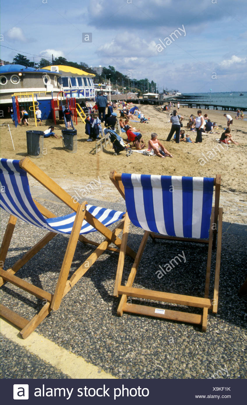 Deckchairs on beach Southend on Sea Essex UK Stock Photo
