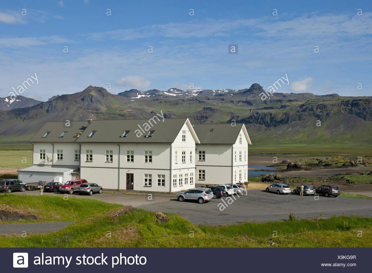 Hotel of Buðir or Fáskrúðsfjoerður, Snæfellsnes, Snæfellsness, Iceland, Europe - Stock Image