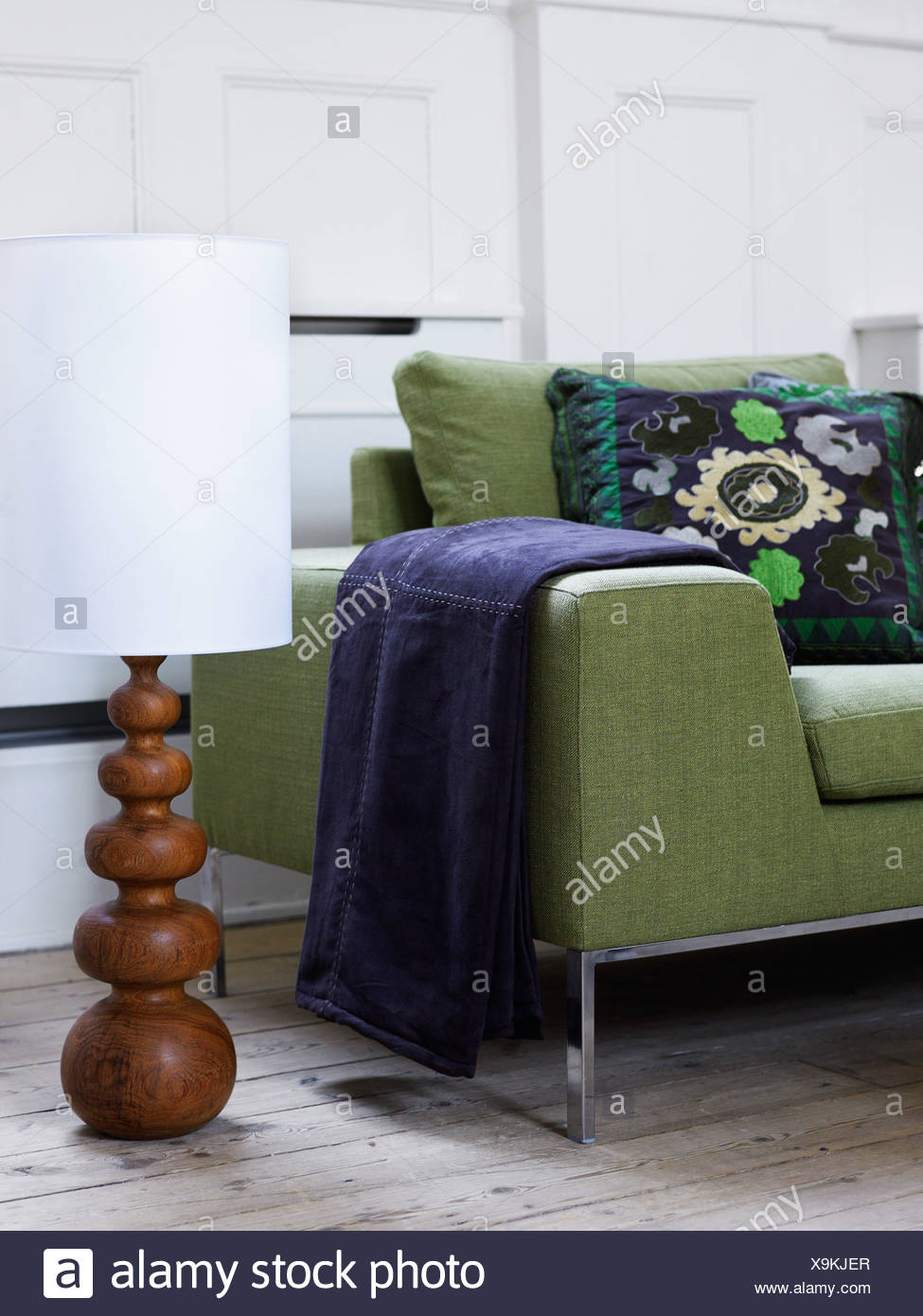 A sofa in a livingroom, Sweden. - Stock Image
