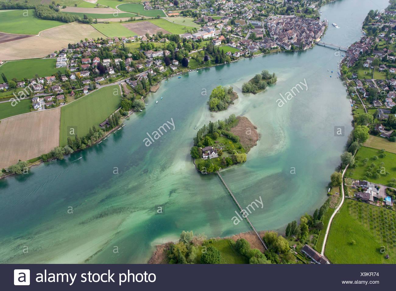 Island Werd and Stein am Rhein, Switzerland, Europe - Stock Image