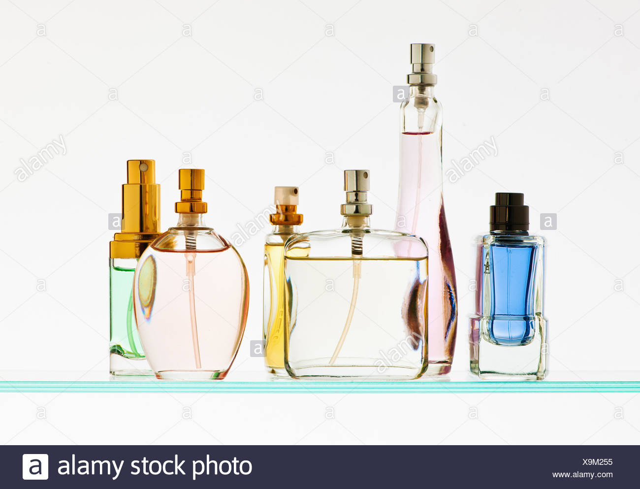Close up of perfume sprayers - Stock Image