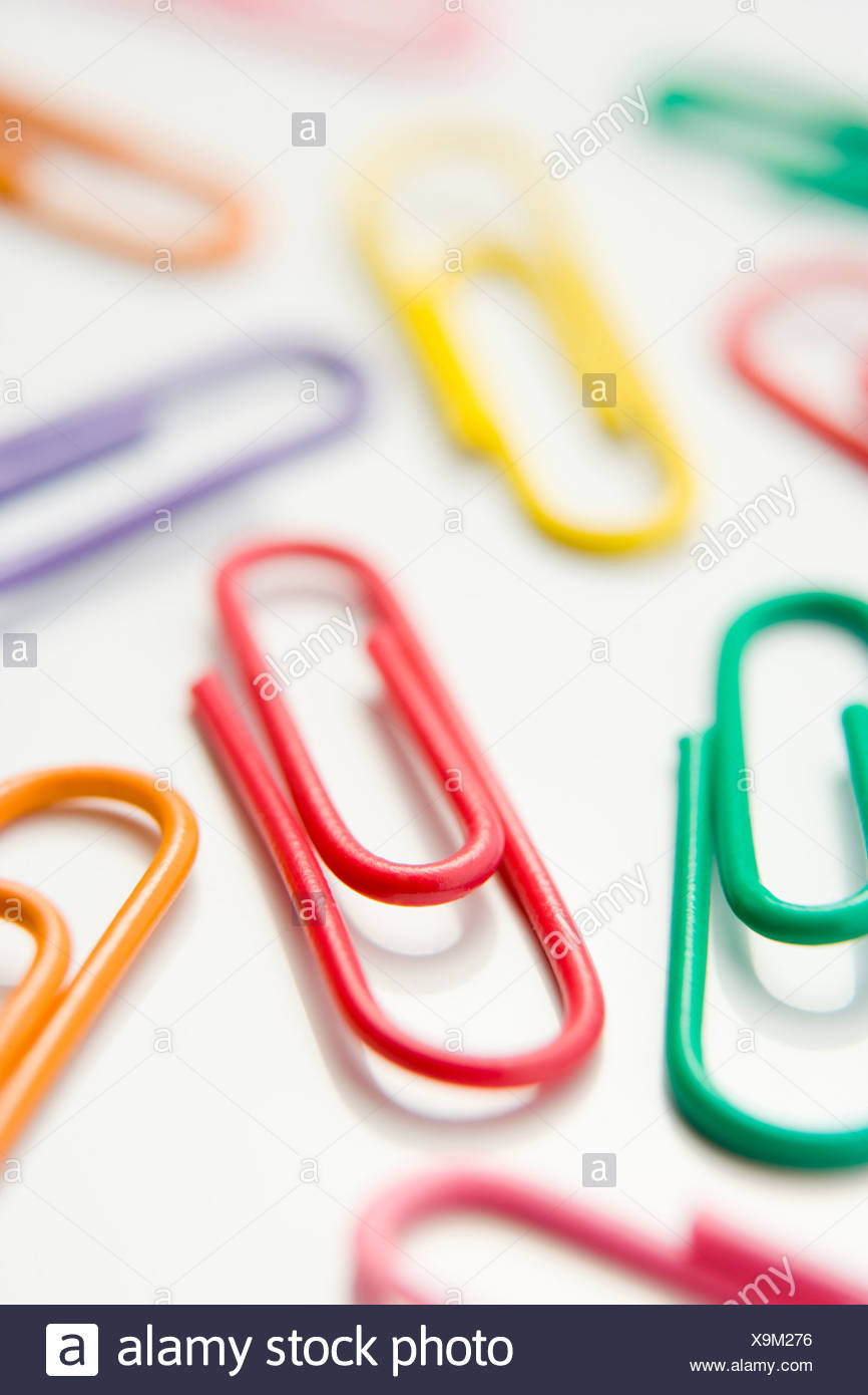 Studio Shot Of Multi Colored Paperclips - Stock Image