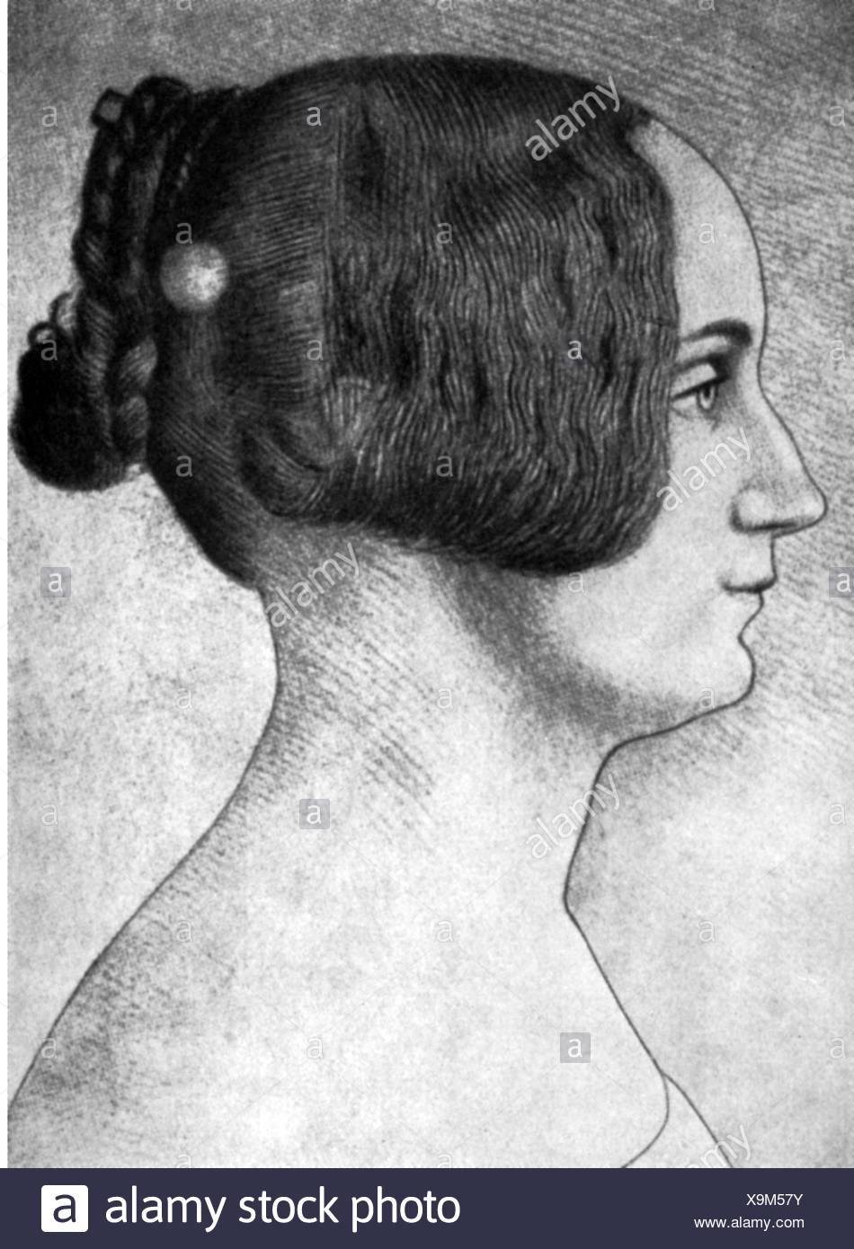 Storm, Constanze, 5.5.1825 - 24.5.1865, wife of Theodor Storm, portrait, drawing, 1843, Stock Photo
