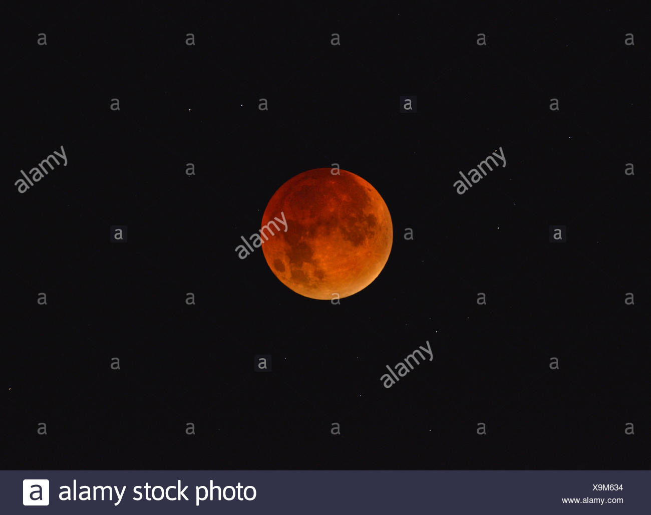 Lunar eclipse/Red Moon - Stock Image