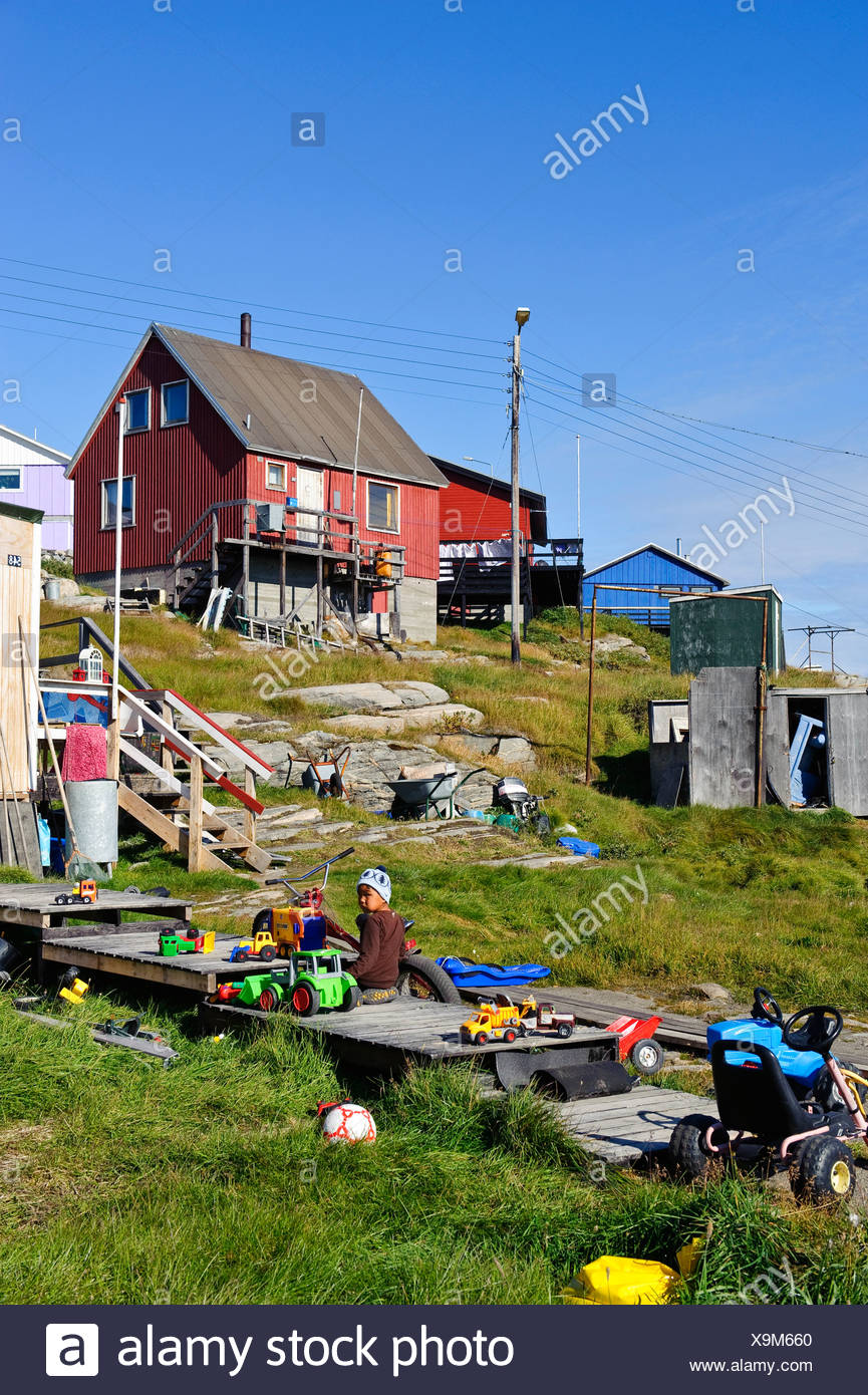 Greenland, Europe, Qeqertarsuaq, West Coast, Place, Child, Play, Outside,  Houses, Homes, Toys Cars, Slope, Inclination,