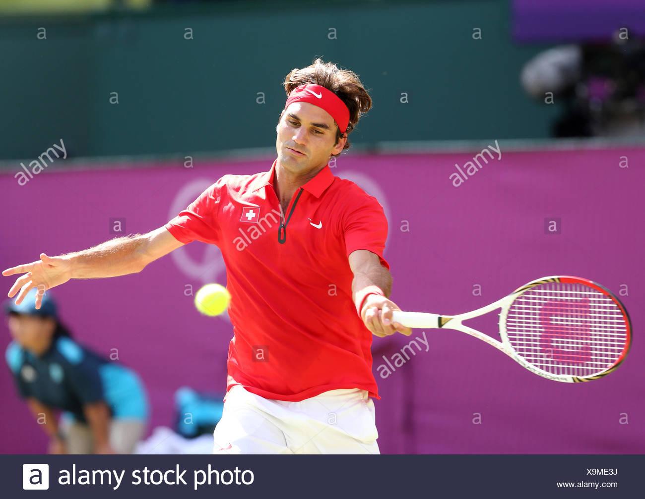 Roger Federer, SUI, men's single finals, AELTC, London 2012, Olympic Tennis Tournament, Olympics, Wimbledon, London, England - Stock Image