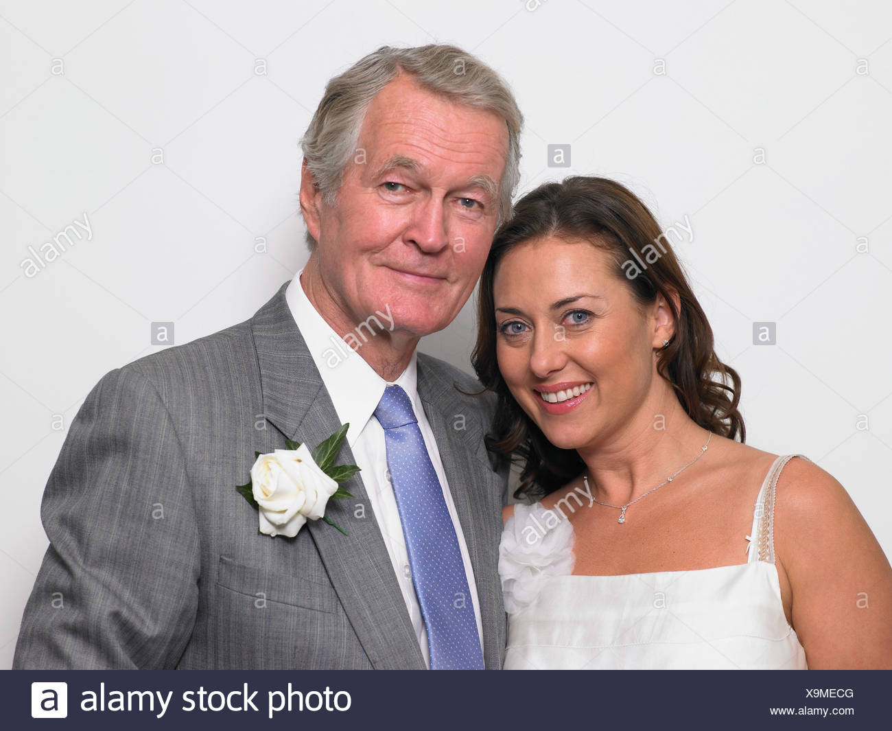 Portrait of the bride and her father - Stock Image