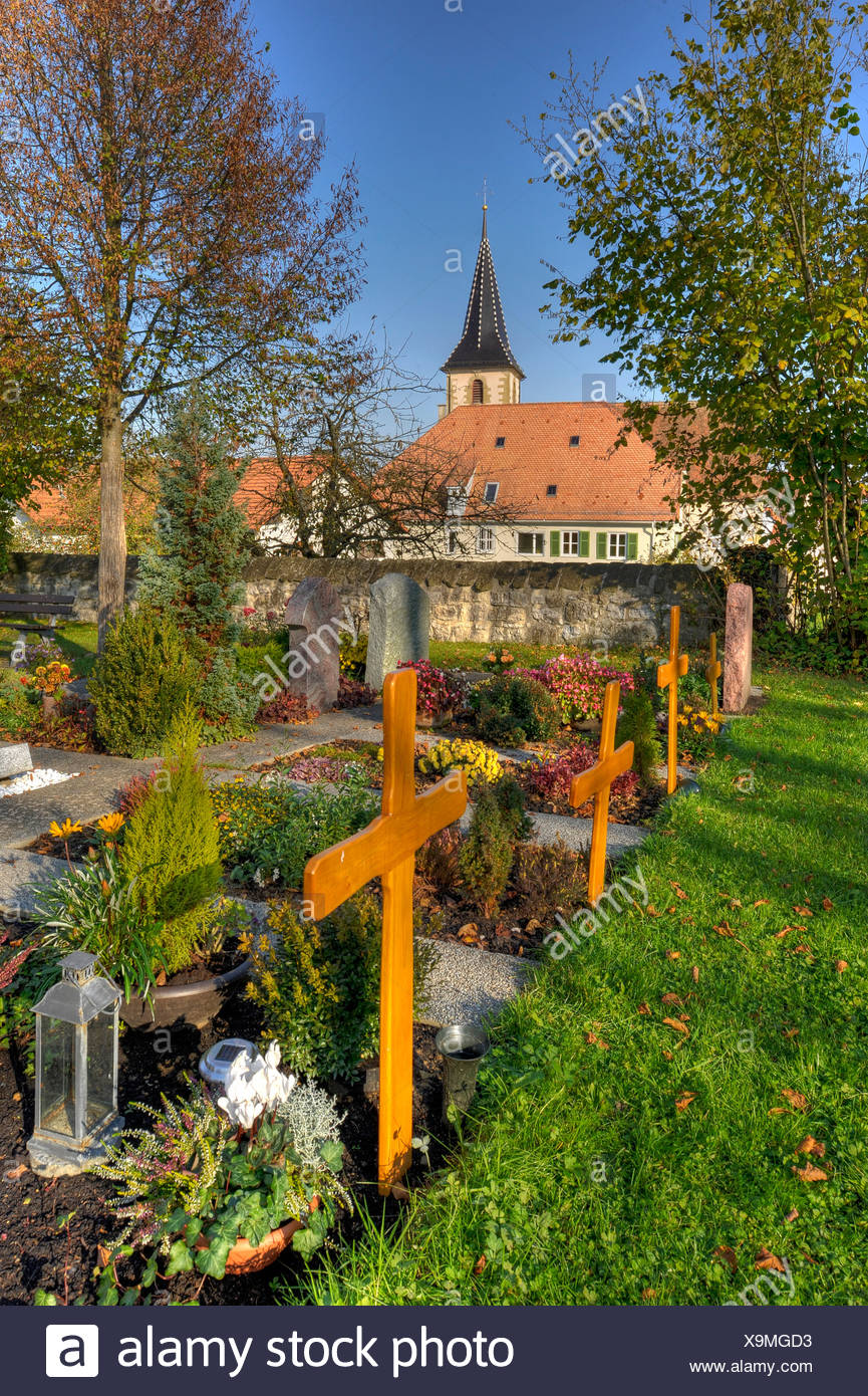Cemetery and church in a district of Siegelhausen near Marbach on ...