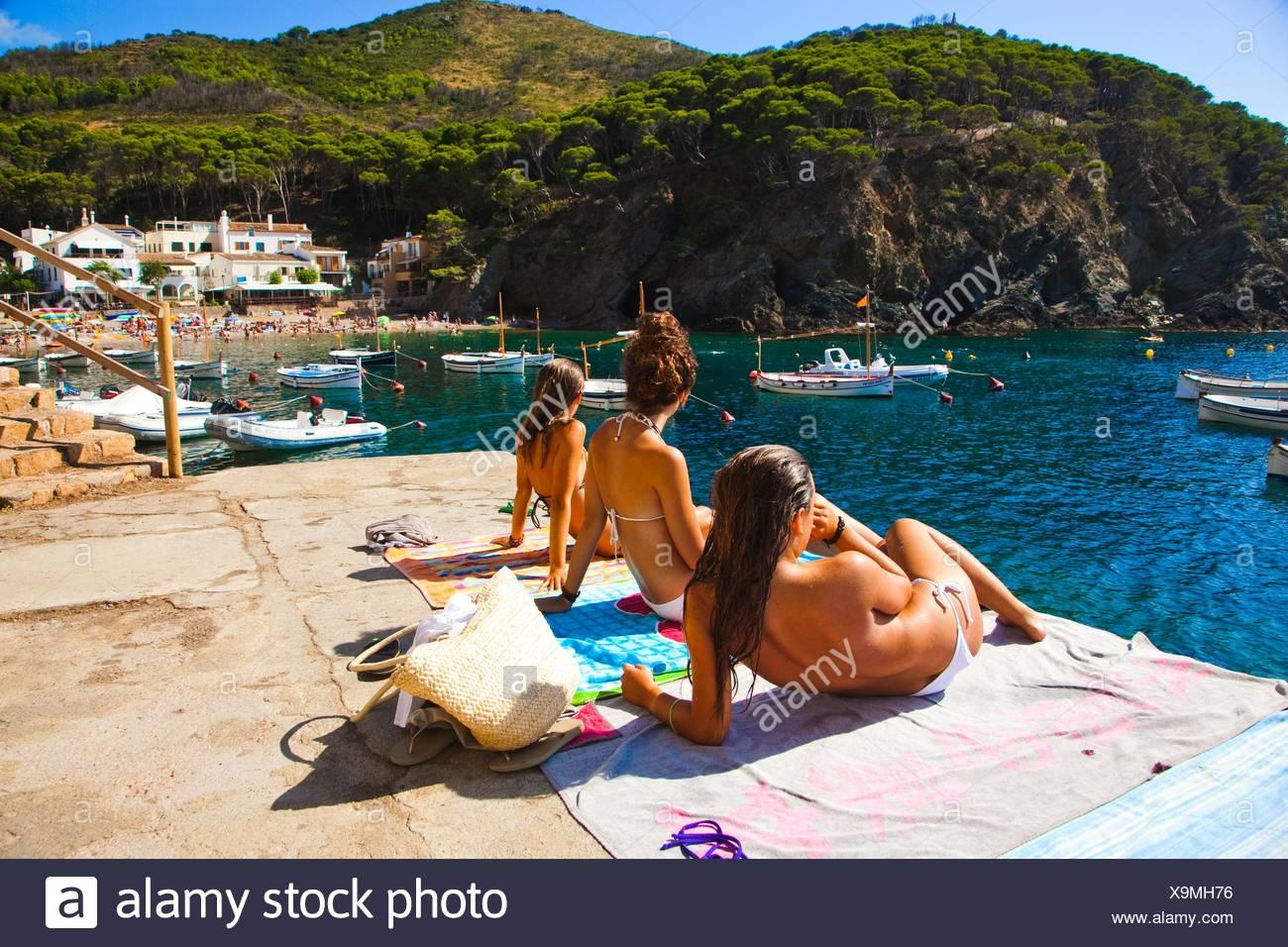 Sa Tuna Beach, Begur, Baix Empordá, Costa Brava, Girona Province, Catalonia, Spain. - Stock Image
