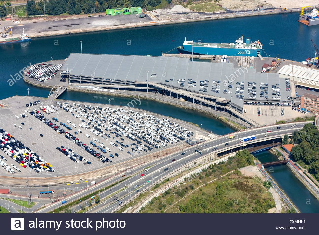 Aerial view, Export cars, Port of Pasajes, Gipuzkoa, Basque Country, Spain. - Stock Image
