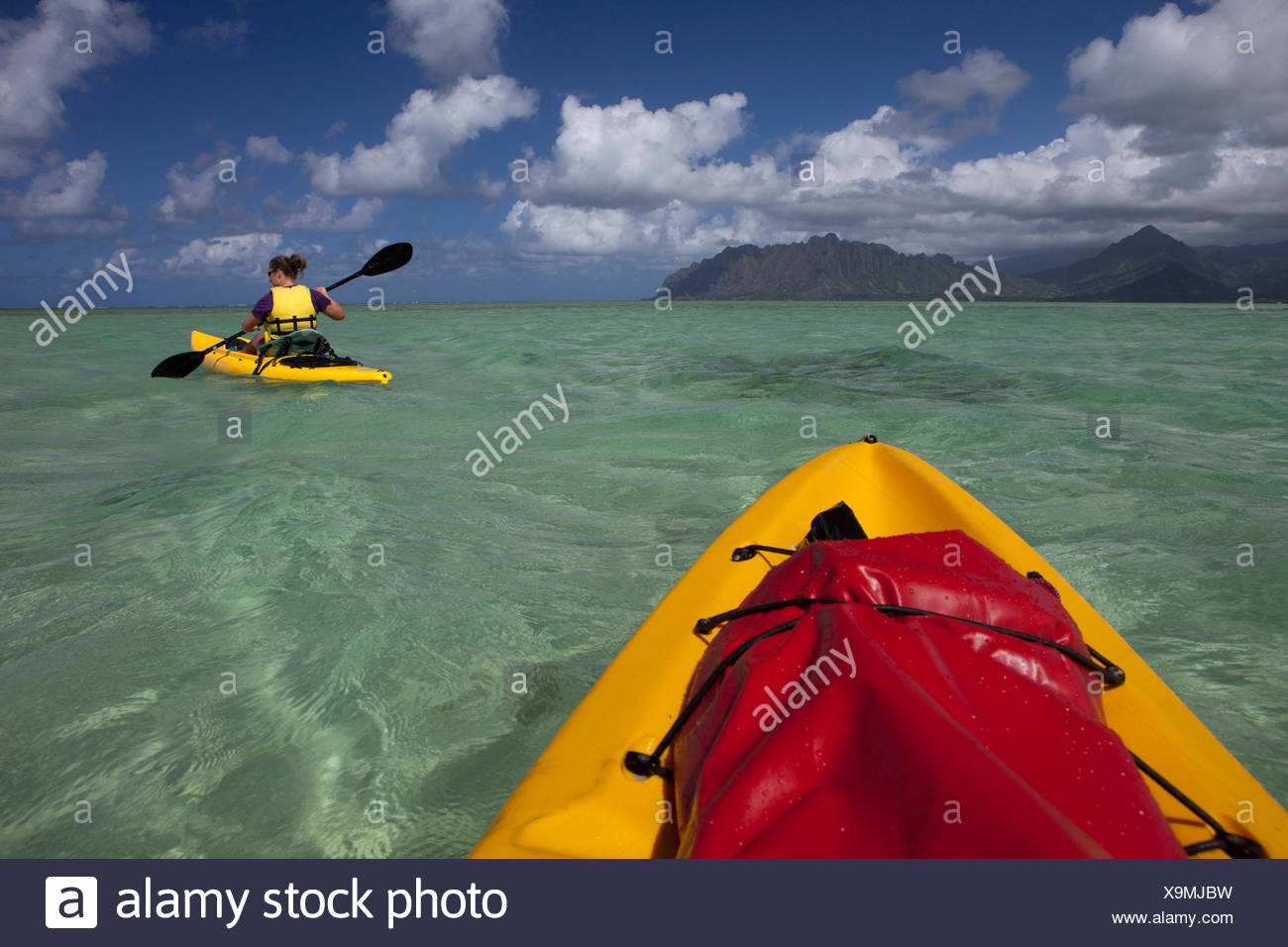 Kayaking in Kane'ohe Bay, Oahu, Hawai'i, United States of America - Stock Image