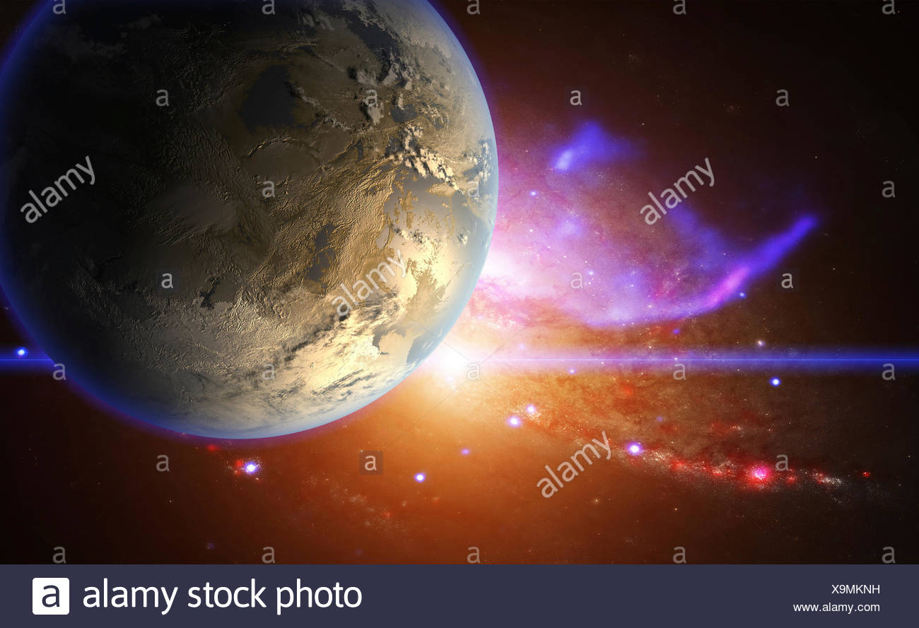 Exoplanet and galactic nebula, illustration. - Stock Image