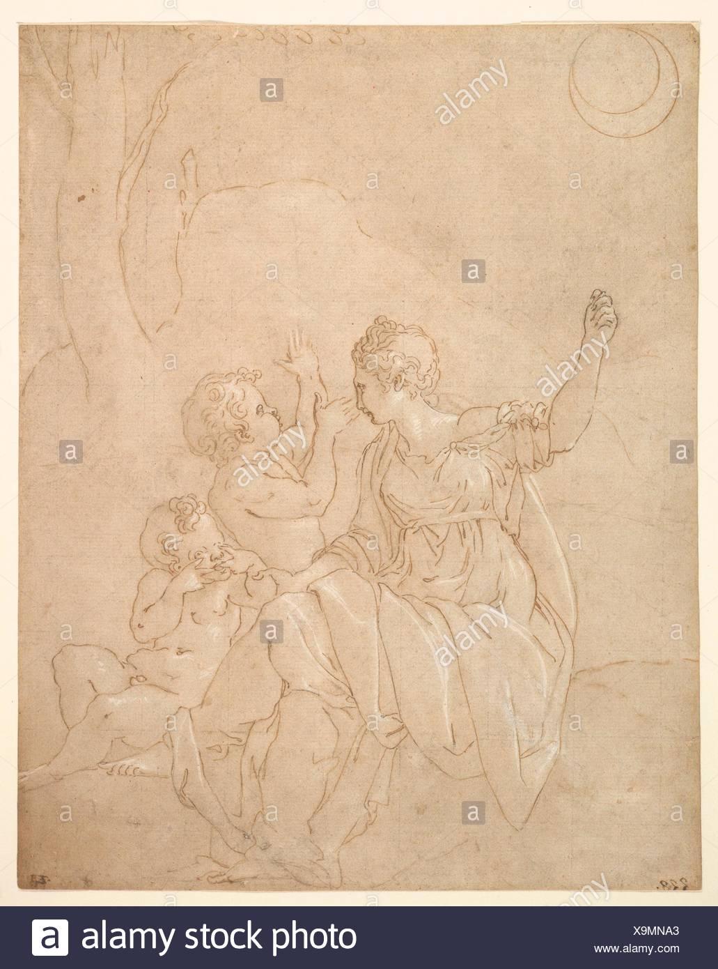 Classical Female Figure (Diana or Venus) with Two Infants. Artist: Francesco Primaticcio (Italian, Bologna 1504/5-1570 Paris); Date: ca. 1539-42; - Stock Image
