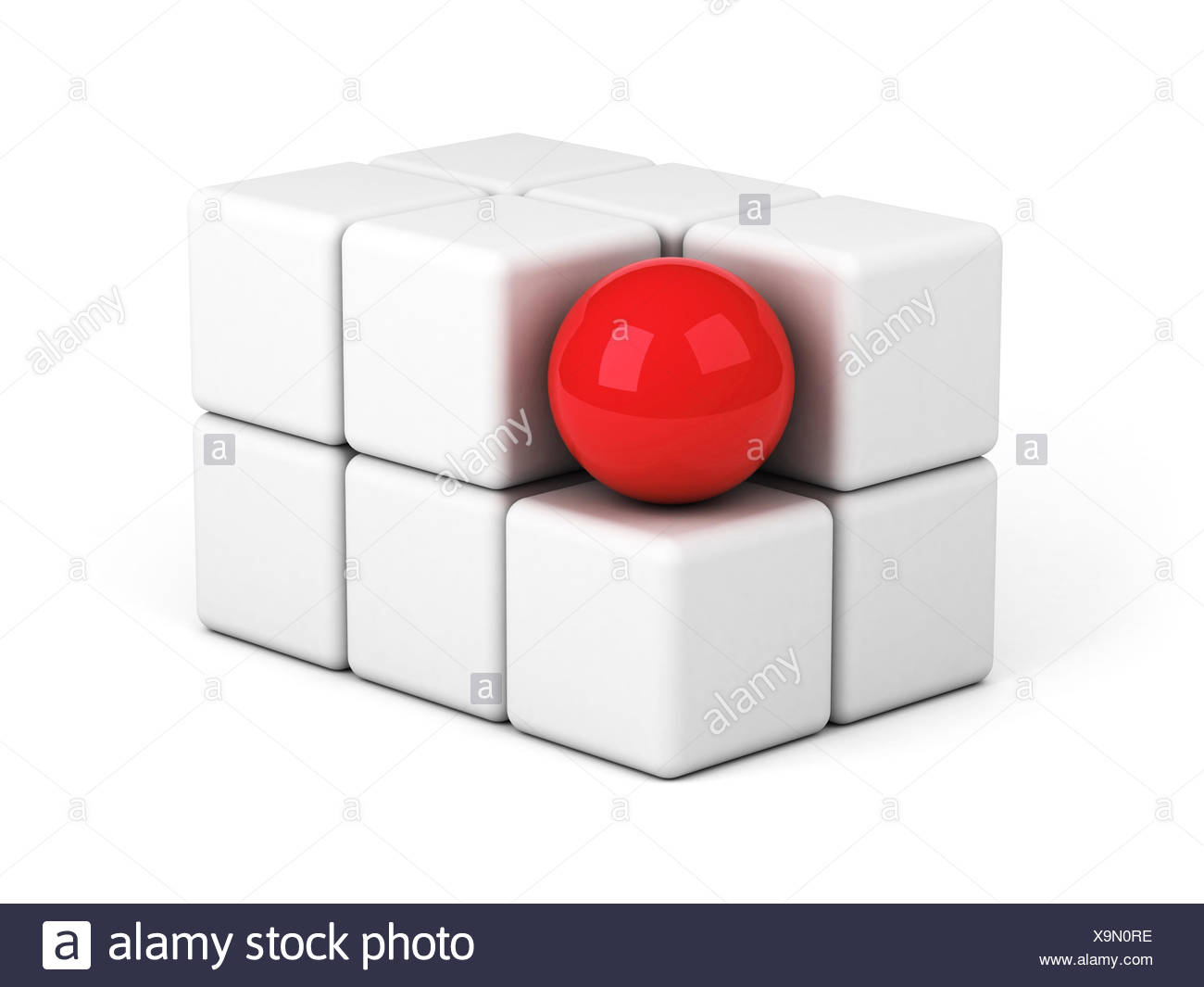 bright red sphere out of the crowd concept - Stock Image