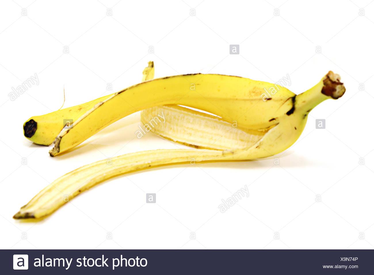 banana peel on withe background isolated - Stock Image
