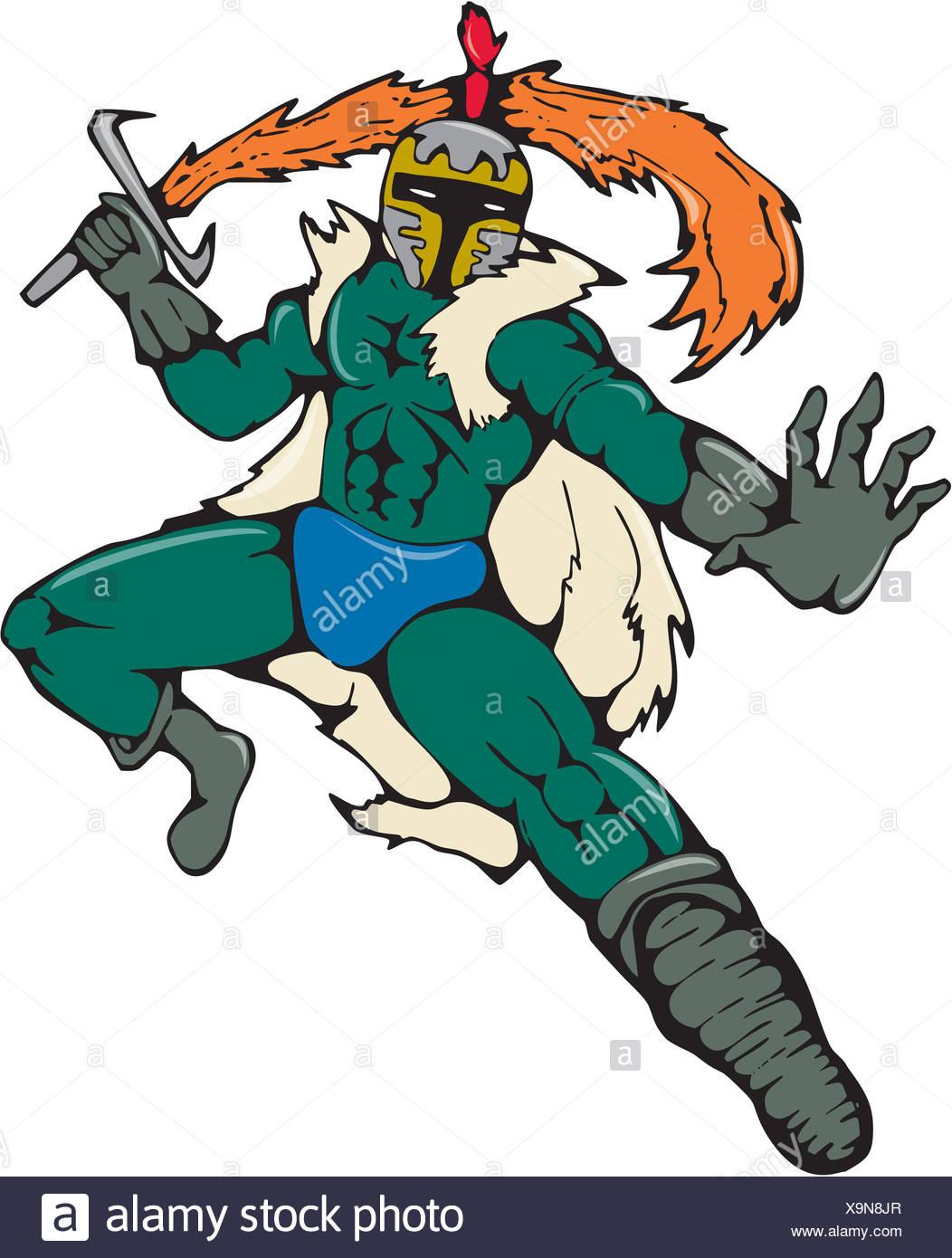 Knight Wield Fiery Sword Cartoon - Stock Image