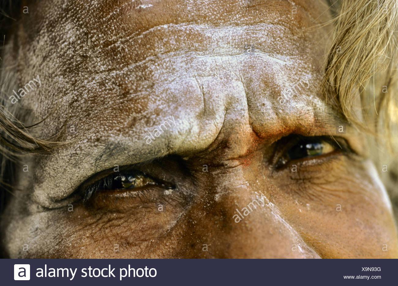 eyes of an Sadhu, India Stock Photo