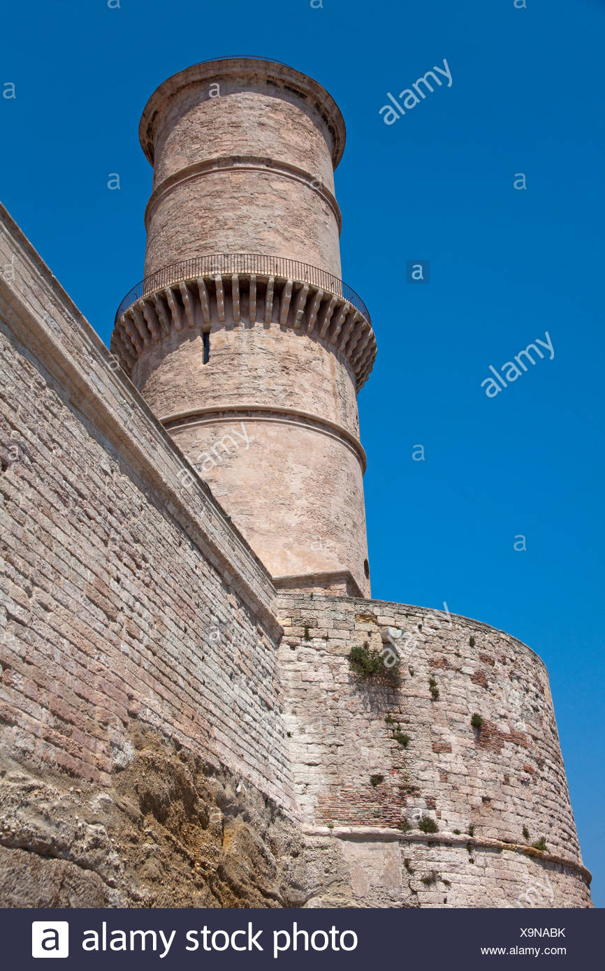 Tower of the Fort of St. Jean at the entrance to the old port, Vieux Port, , Bouches-du-Rhone, Provence-Alpes-Cote d'Azur Stock Photo