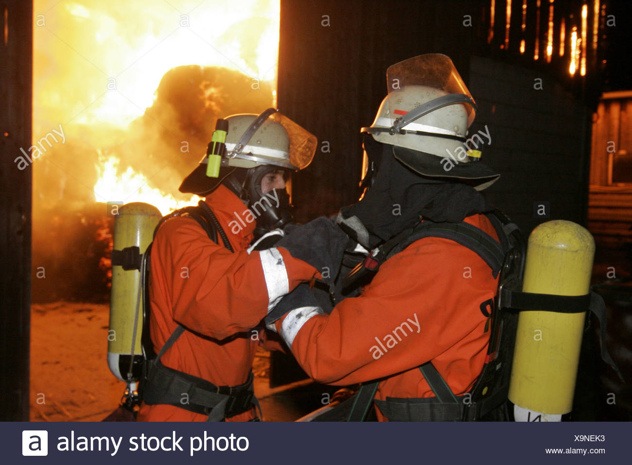 Conflagration fire brigade fighting conflagration fire Großsachsen Germany - Stock Image