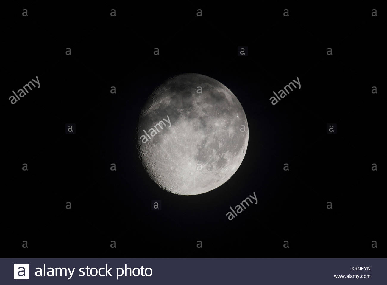 Waning moon, - Stock Image
