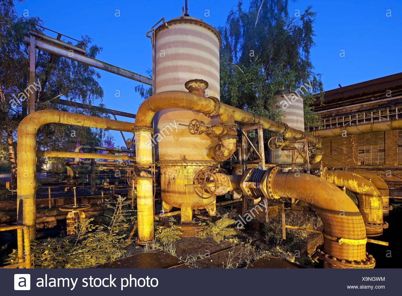 Kokerei Hansa in der Daemmerung, Deutschland, Nordrhein-Westfalen, Ruhrgebiet, Dortmund | coking plant Hansa in the evening, Ger - Stock Image