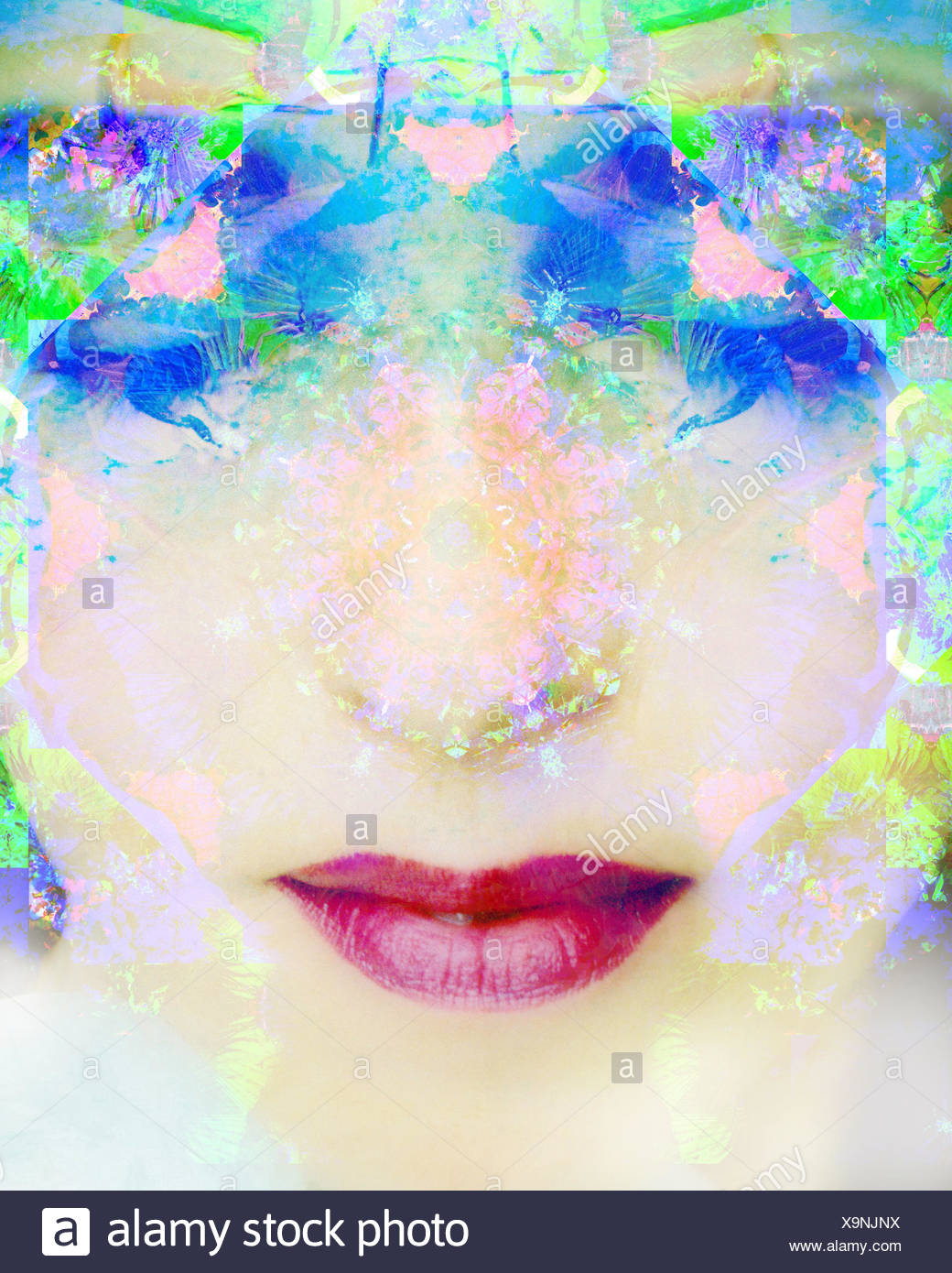 a montage of a portrait of a woman with closed eyes and ornaments out of flowers Stock Photo