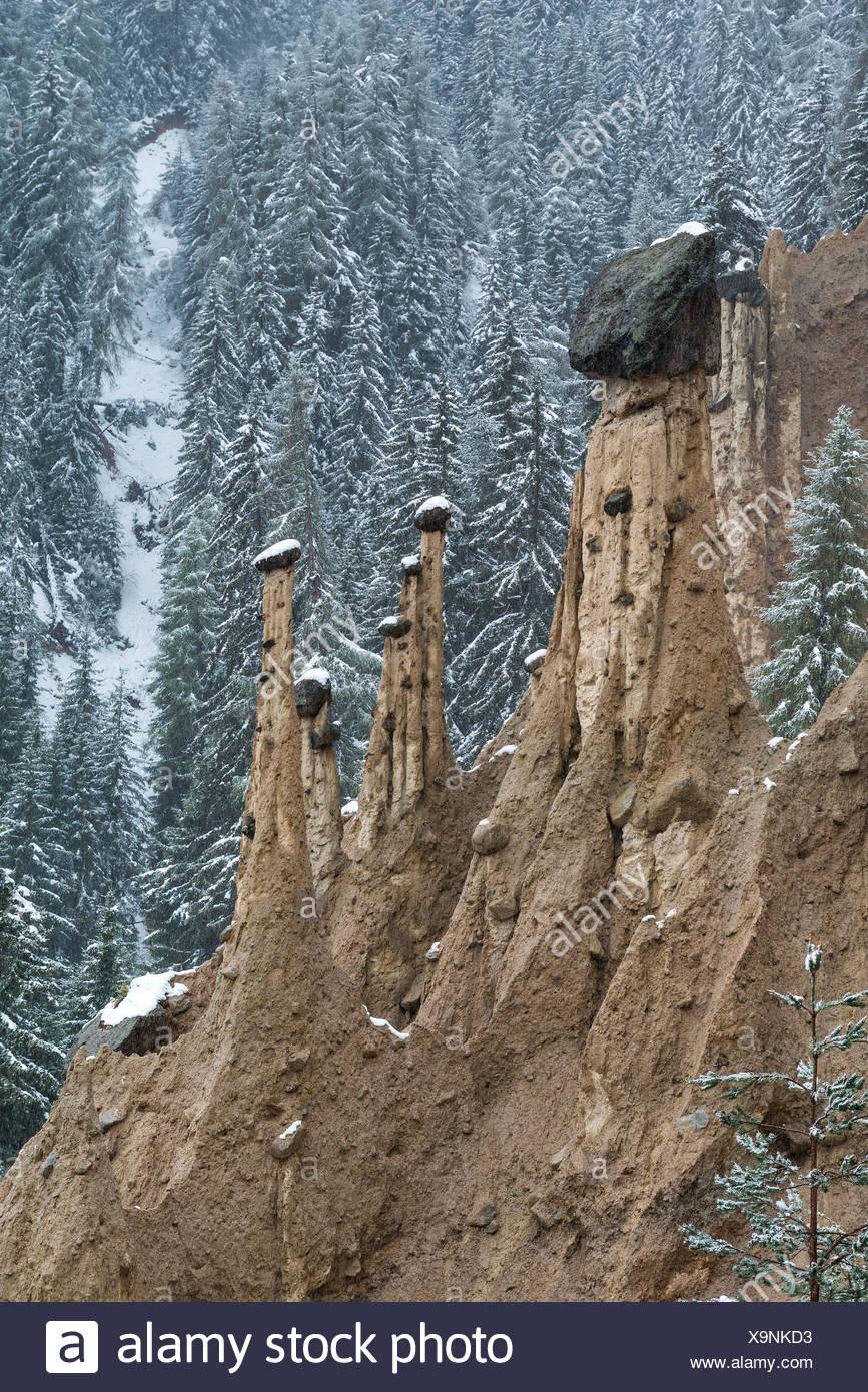 Perca/Percha, South Tyrol, Italy. The Earth Pyramids - Stock Image