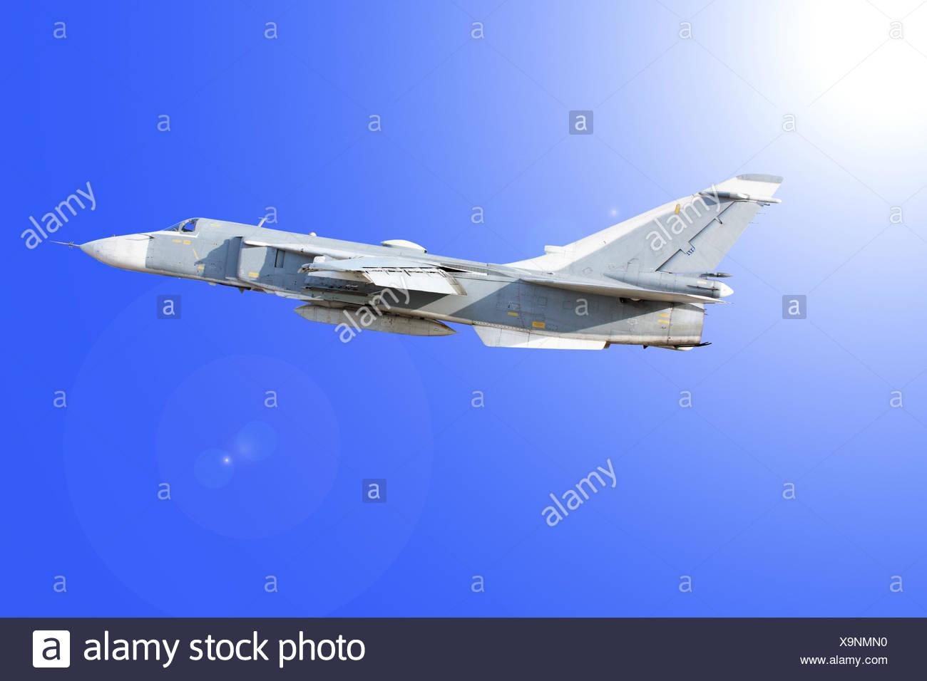 Military jet bomber Su-24 - Stock Image