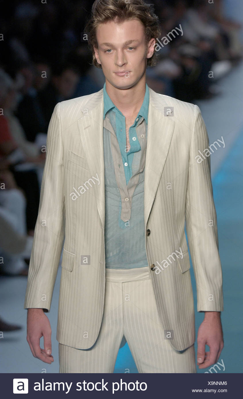 7f9f540fb7a Fendi Ready to Wear Milan spring summer Menswear fashion show Model fair  hair wearing cream striped