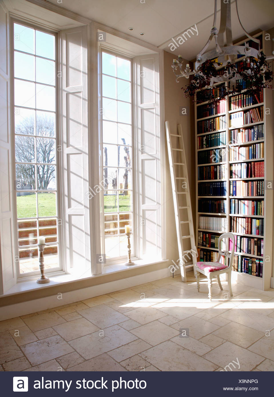 marble bookshelves tiles floor to white hall in stock ladder and library photo ceiling tall windows with