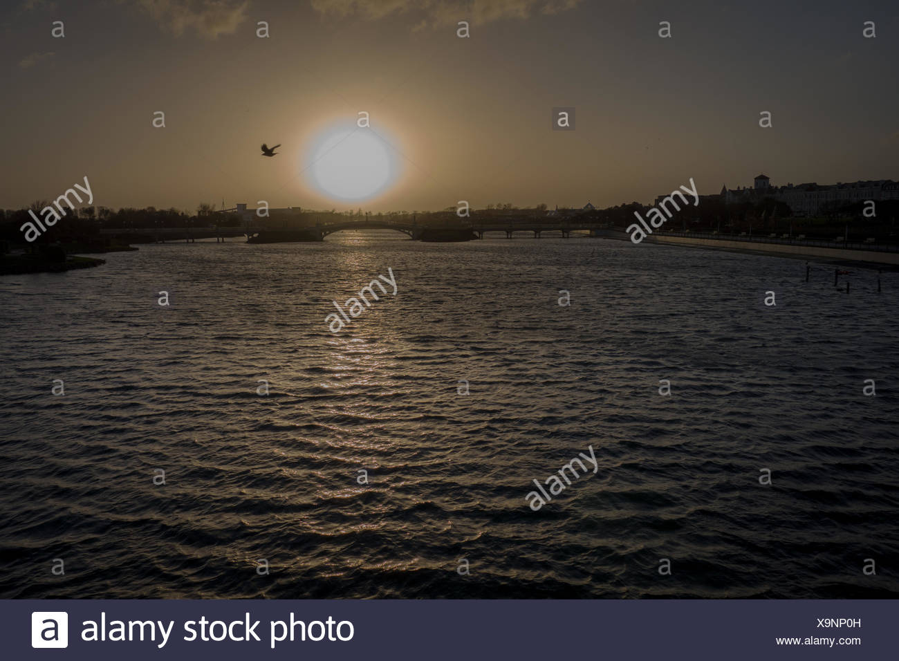 Scenic View Of Marine Lake During Sunset - Stock Image