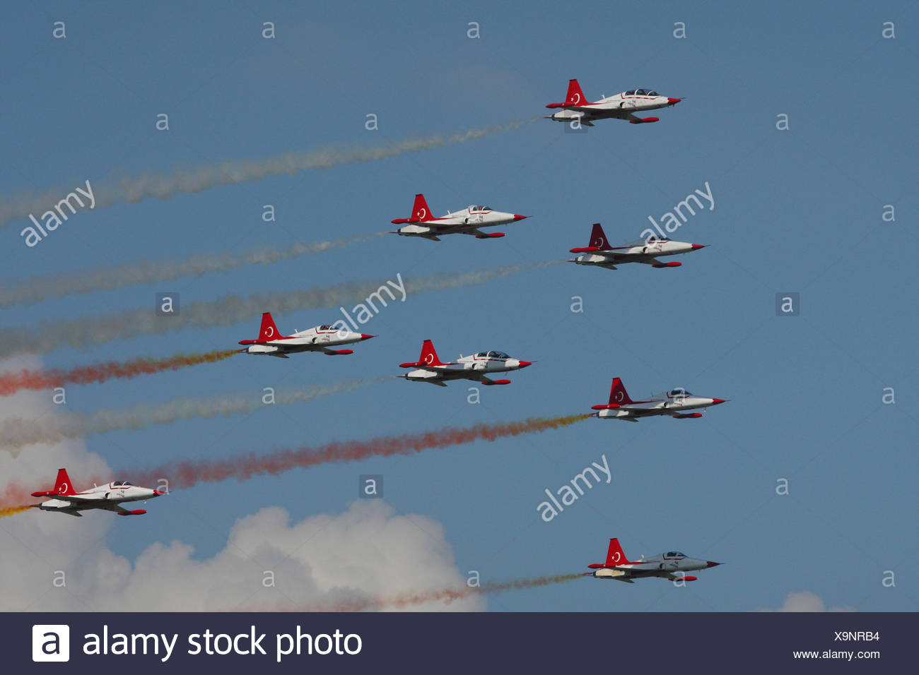A military performance at an aerial show. Stock Photo