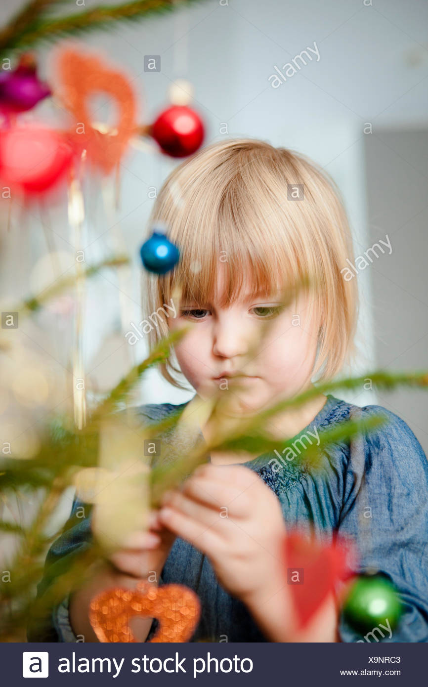 Girl (4-5) decorating Christmas tree - Stock Image