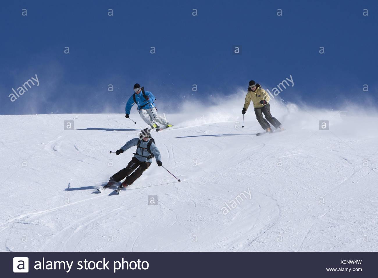 Switzerland, the Engadine, Bernina group, Diavolezza, skiing area, runway, skier, three, - Stock Image