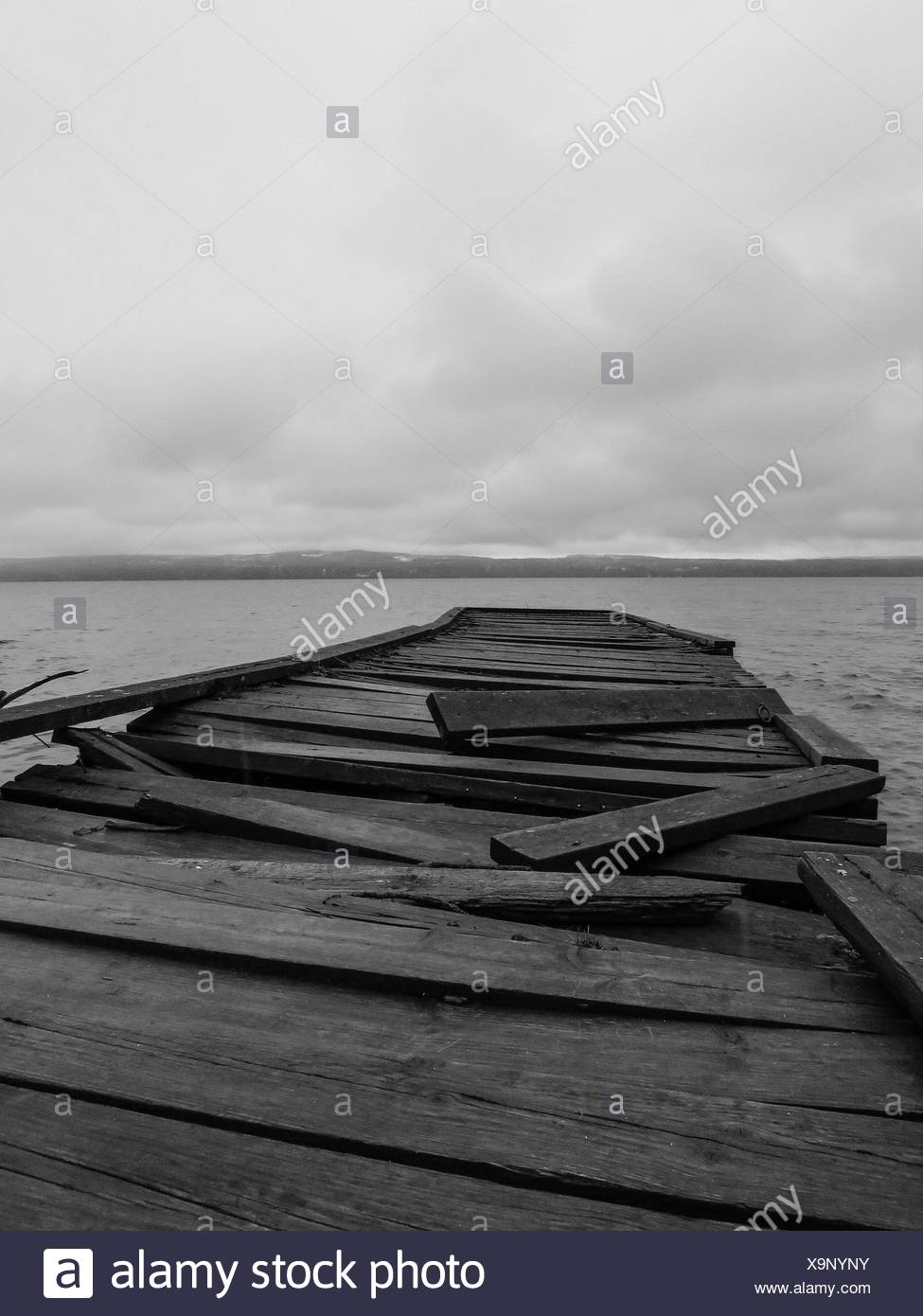 Run-Down Wooden Pier - Stock Image