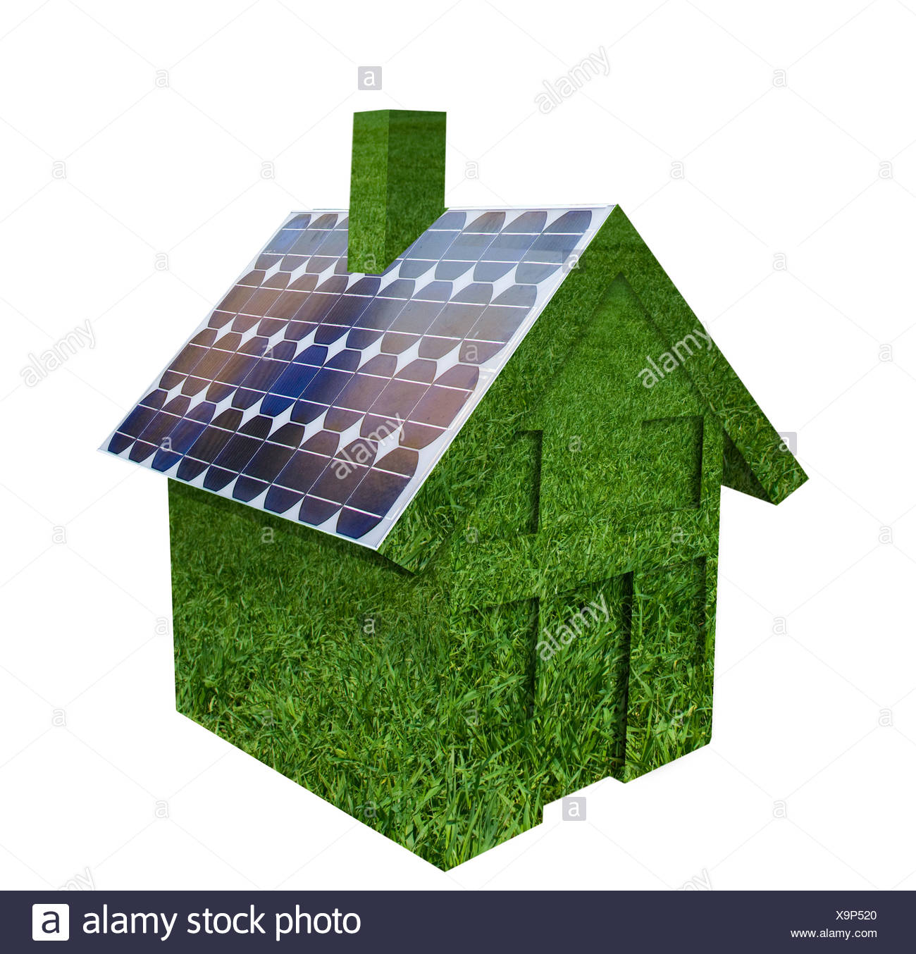 House made out of green grass with solar panels on roof - Stock Image