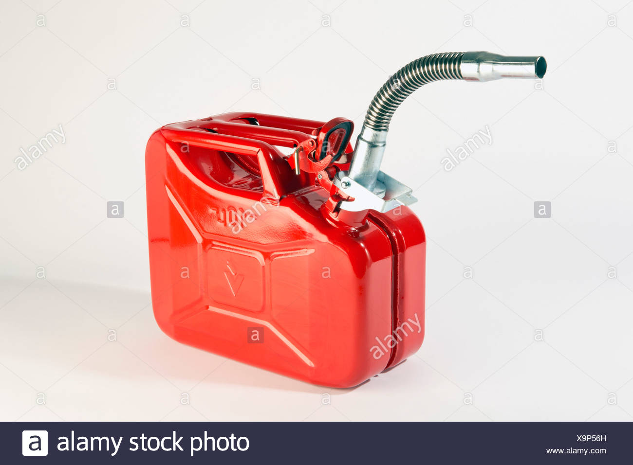 A red metal gasoline can - Stock Image