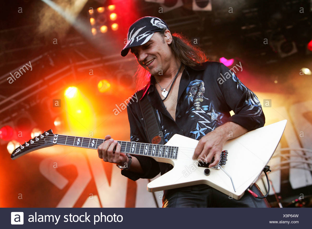 Matthias Jabs, guitarist of the German rock band Scorpions, live at the Spirit of Music Open Air in the Uster football stadium  - Stock Image