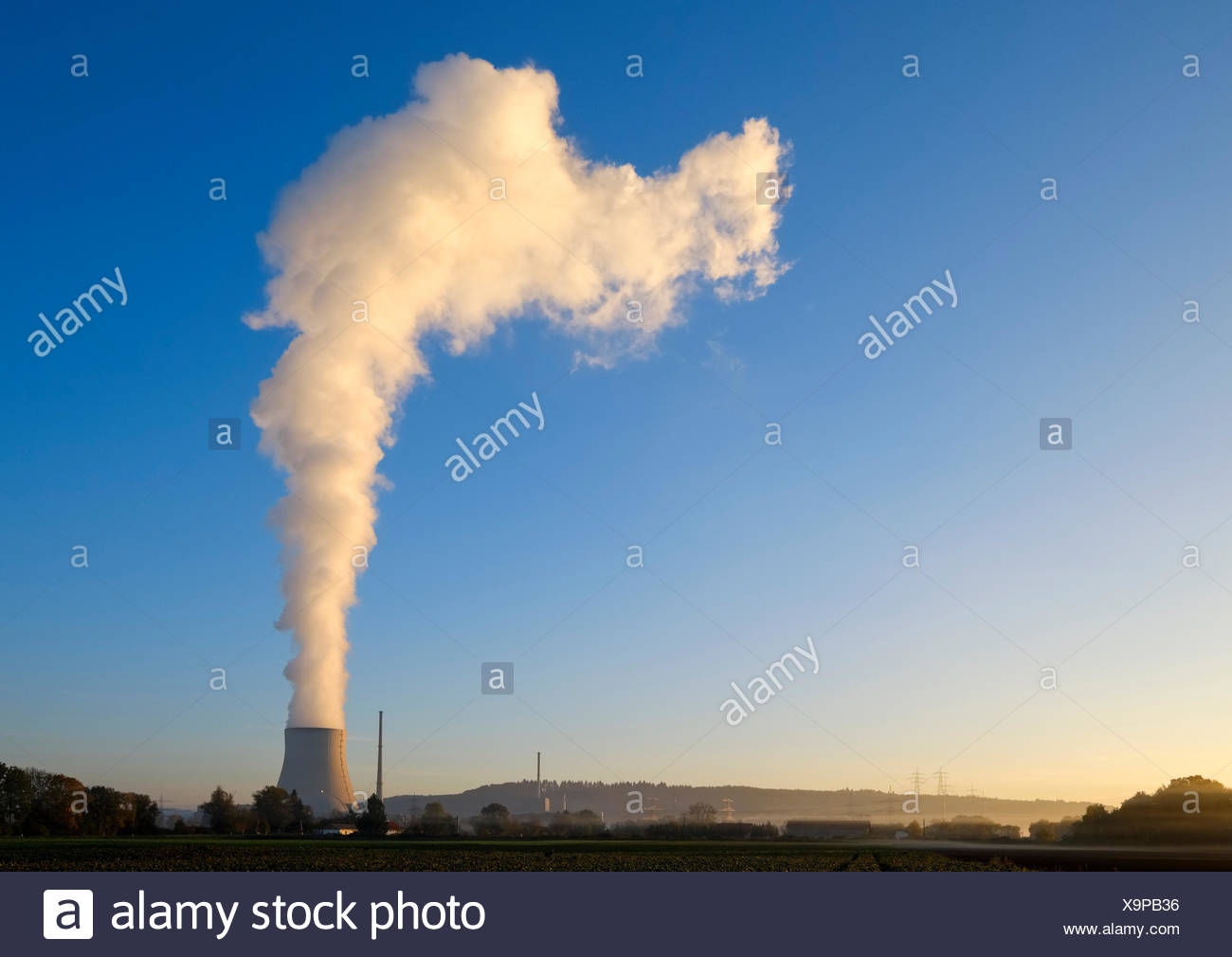 Sunrise,nuclear power plant Isar,Ohu,Lower Bavaria,Bavaria,Germany - Stock Image