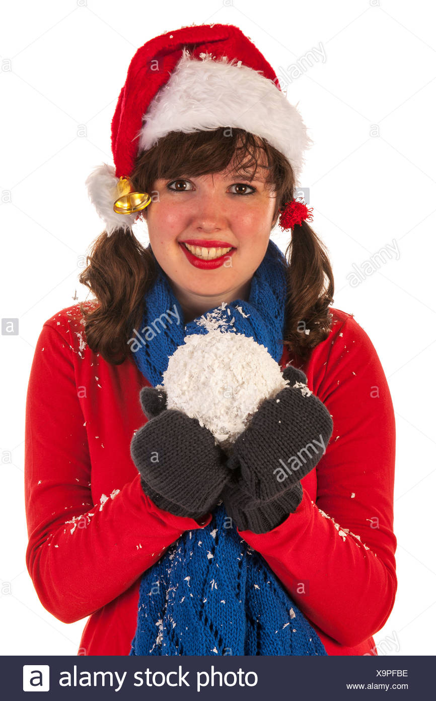 da2b03442644d Winter girl with hat Santa Claus and snow Stock Photo  281392818 - Alamy