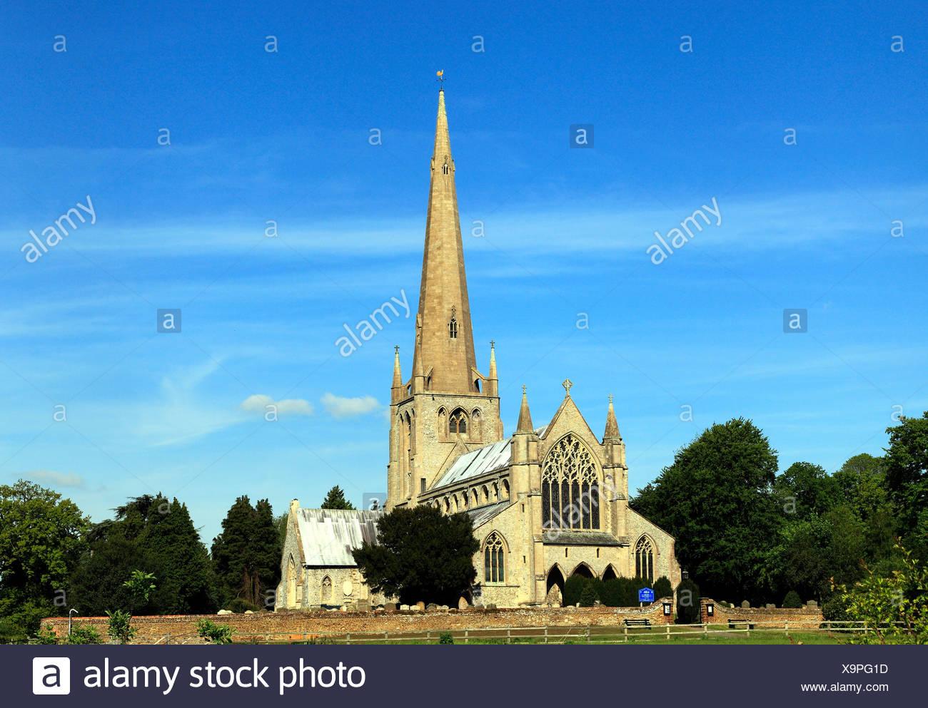 Snettisham, Norfolk, medieval church with spire, England, UK, English churches spires - Stock Image