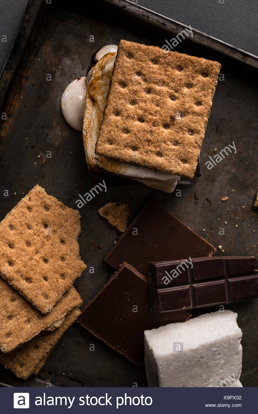 Ingredients for a rustic campfire smores with one melty and ready to eat. - Stock Image