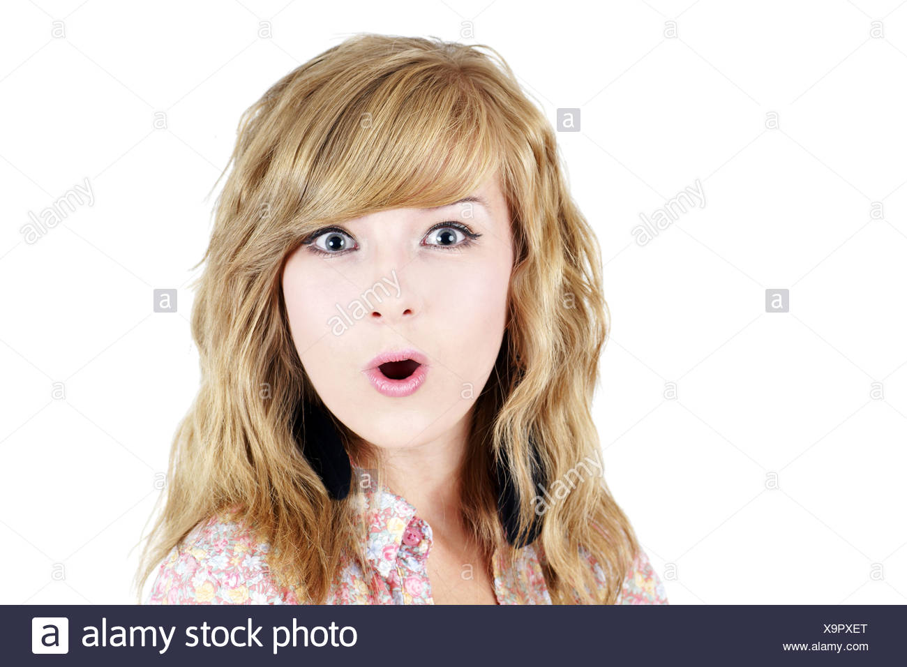 Surprised Young Blond Teenager Girl